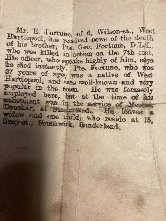 Confirmation of George Fortune's death