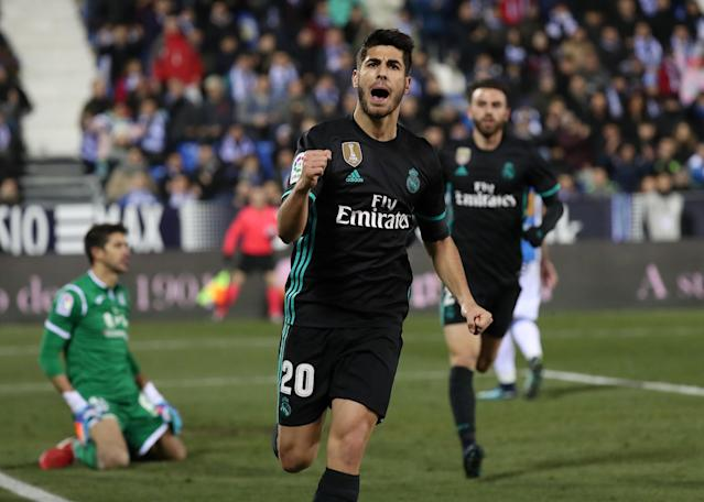 Soccer Football - Spanish King's Cup - Leganes vs Real Madrid - Quarter-Final - First Leg - Butarque Municipal Stadium, Leganes, Spain - January 18, 2018 Real Madrid's Marco Asensio celebrates scoring their first goal REUTERS/Susana Vera