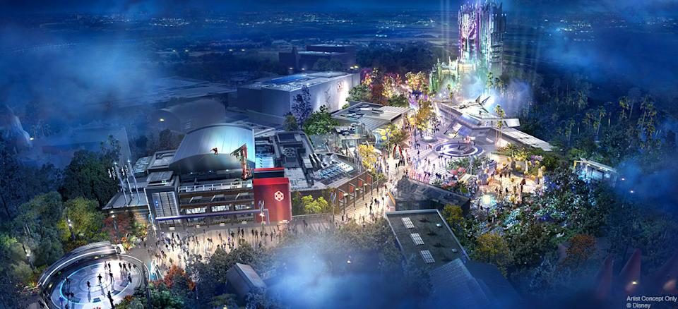 Concept art for the Marvel-themed section of Disneyland, Avengers Campus (Photo: Disney Parks Blog)
