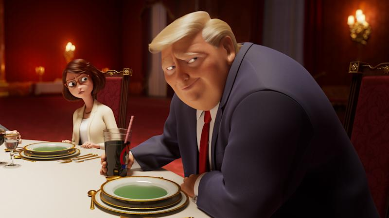 Donald Trump dines at the palace in animated movie 'The Queen's Corgi'. (Credit: Lionsgate)