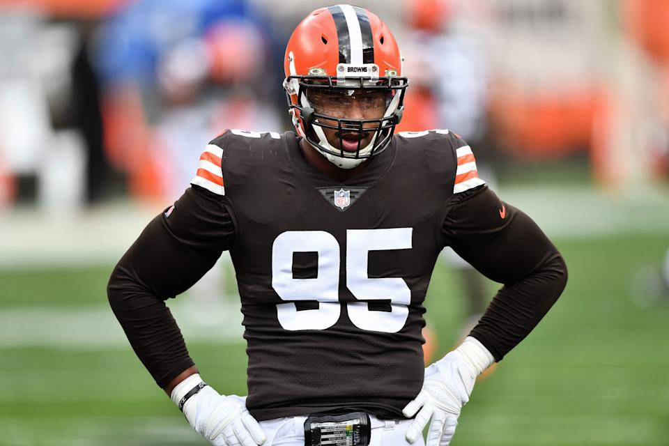 Cleveland Browns defensive end Myles Garrett will miss his second straight game this week, according to head coach Kevin Stefanski. (Photo by Jamie Sabau/Getty Images)