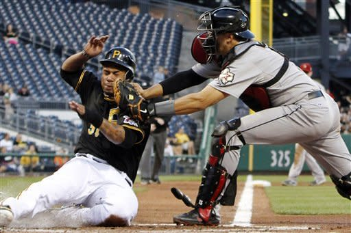 Pittsburgh Pirates' Jose Tabata, left, is tagged out by Houston Astros catcher Jason Castro during the fourth inning of a baseball game in Pittsburgh, Friday, May 11, 2012. Tabata was attempting to score from third on a ground ball to Astros shortstop Jed Lowrie by Pirates' Andrew McCutchen. (AP Photo/Gene J. Puskar)
