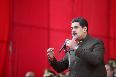 Venezuela's President Nicolas Maduro attends a military parade for the transmission of National Guard command in Caracas