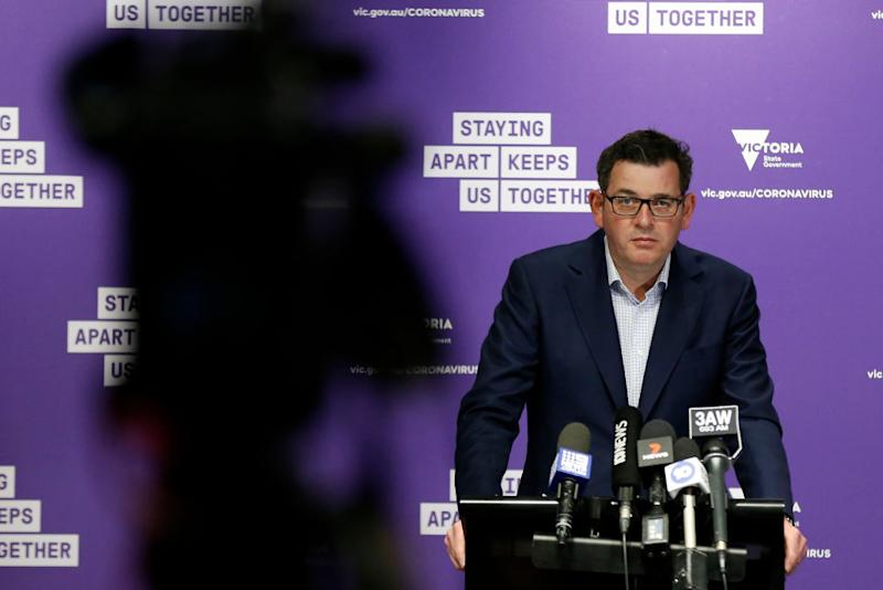 Victorian Premier Daniel Andrews announcing Stage 4 lockdown. Source: Getty