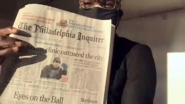 PHOTO: Dr. Ala Stanford shows off the front page of the Philadelphia Inquirer where she is featured.  (ABC News)