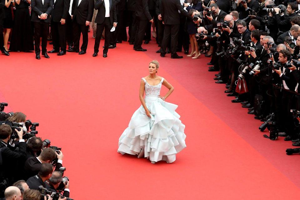 <p>Blake Lively had a Cinderella moment at Cannes in 2016, in a ruffled Vivienne Westwood gown fit for a princess. The pale blue hue and voluminous layered skirt drew immediate comparisons to the Disney character, with Lively even wearing her hair in a similar style.</p>