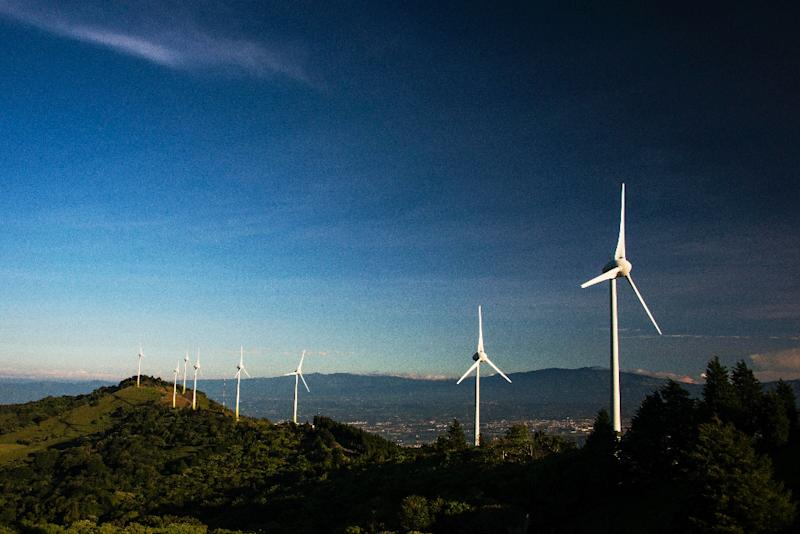 View of a wind farm of the National Power and Light Company in Santa Ana, Costa Rica on October 23, 2015
