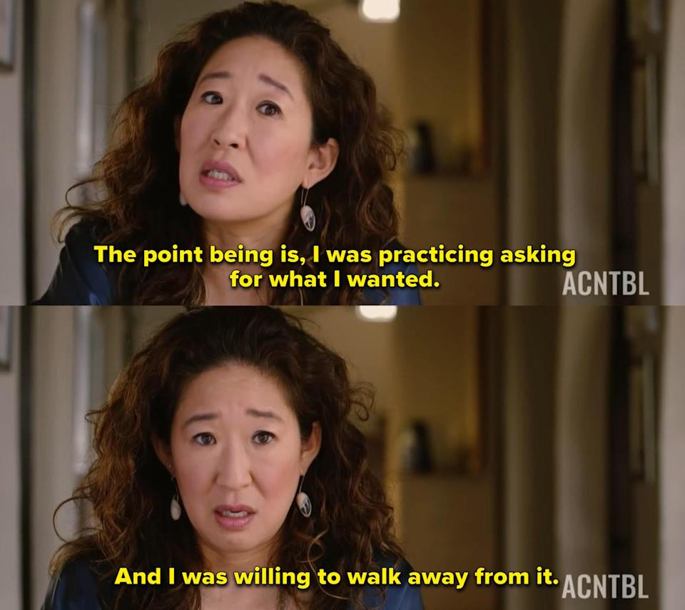 """Sandra Oh: """"The point being is, I was practicing asking for what I wanted. And I was willing to walk away from it"""""""
