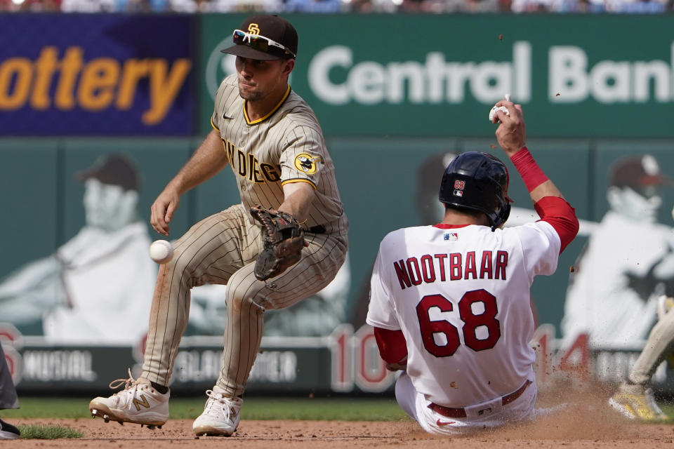St. Louis Cardinals' Lars Nootbaar (68) is safe at second for a stolen base as San Diego Padres second baseman Adam Frazier handles the throw during the sixth inning of a baseball game Sunday, Sept. 19, 2021, in St. Louis. (AP Photo/Jeff Roberson)