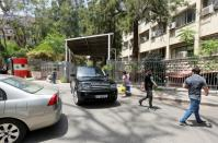 A vehicle drives at Justice Palace in Beirut