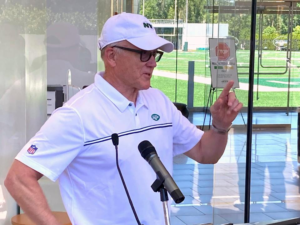 New York Jets owner and chairman Woody Johnson speaks to reporters at the team's NFL football facility in Florham Park, N.J, Wednesday, June 16, 2021. (AP)