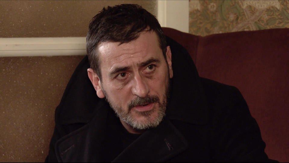 FROM ITV  STRICT EMBARGO -  No Use Before Tuesday 26th January 2021  Coronation Street - Ep 10238  Monday 1st February 2021 - 2nd Ep  Sweating profusely and on the brink of another seizure, Peter Barlow [CHRIS GASCOYNE] admits to Carla Connor [ALISON KING] that heÕs been tipping his medicinal whisky down the sink when KenÕs back is turned.   Picture contact David.crook@itv.com  This photograph is (C) ITV Plc and can only be reproduced for editorial purposes directly in connection with the programme or event mentioned above, or ITV plc. Once made available by ITV plc Picture Desk, this photograph can be reproduced once only up until the transmission [TX] date and no reproduction fee will be charged. Any subsequent usage may incur a fee. This photograph must not be manipulated [excluding basic cropping] in a manner which alters the visual appearance of the person photographed deemed detrimental or inappropriate by ITV plc Picture Desk. This photograph must not be syndicated to any other company, publication or website, or permanently archived, without the express written permission of ITV Picture Desk. Full Terms and conditions are available on  www.itv.com/presscentre/itvpictures/terms