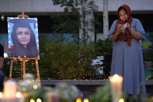 Sabina Nessa's sister at a candlelit vigil in memory of the primary school teacher