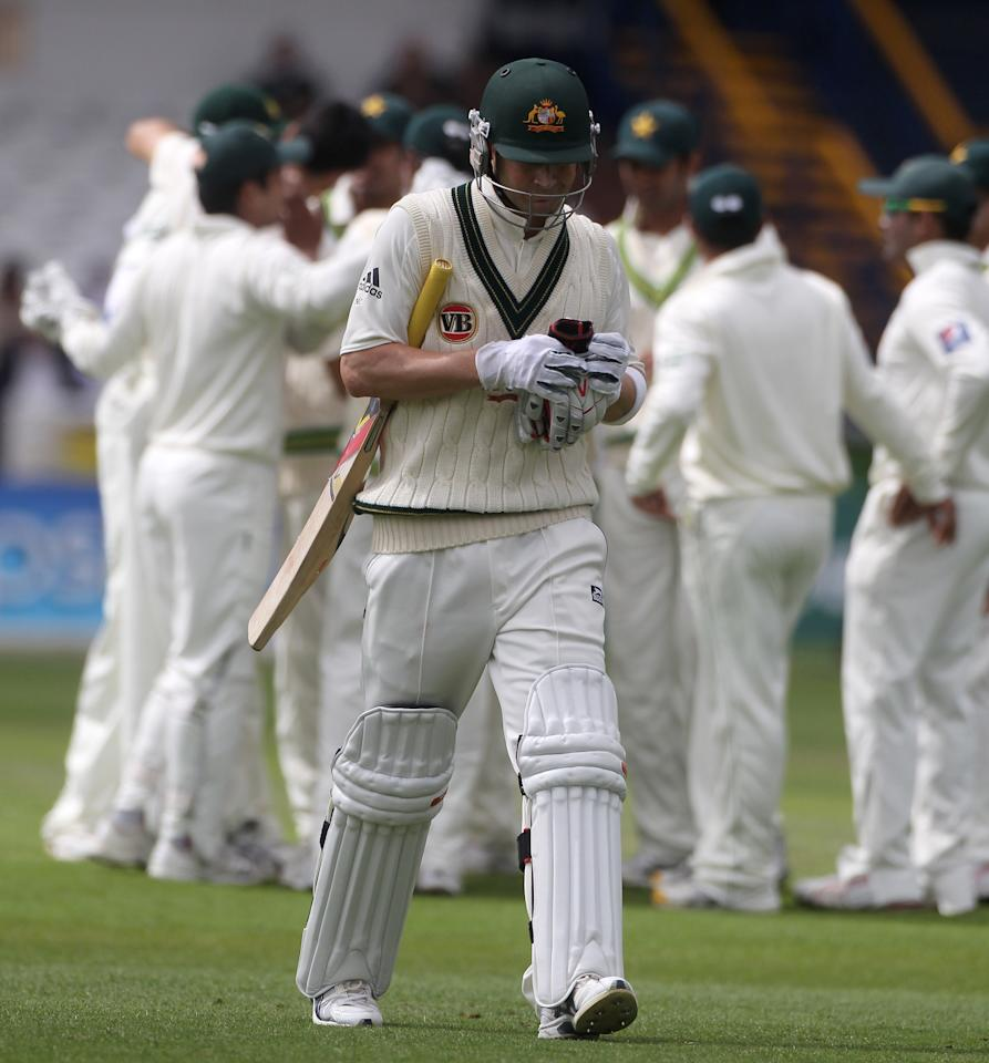 LEEDS, ENGLAND - JULY 21:  Michael Clarke of Australia walks off after his dismissal during day one of the 2nd Test between Pakistan and Australia at Headingley Carnegie Stadium on July 21, 2010 in Leeds, England.  (Photo by Julian Herbert/Getty Images)