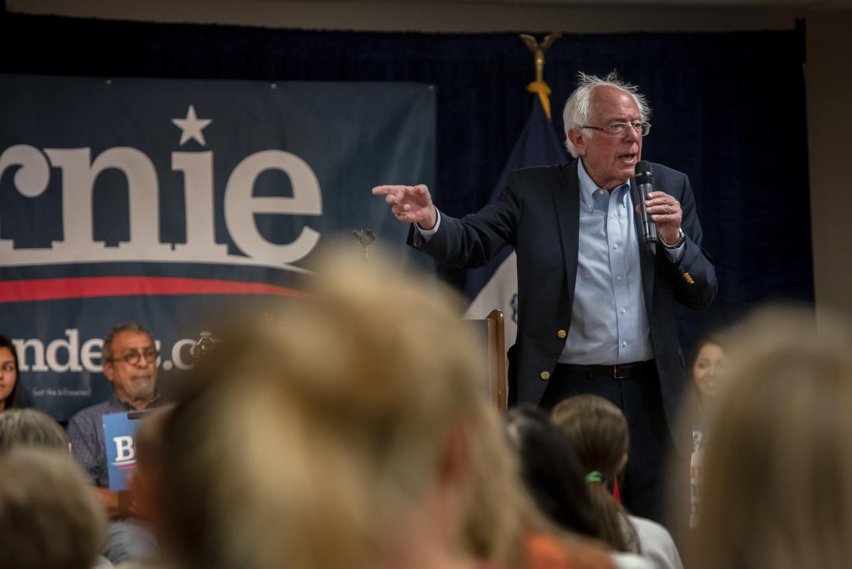 Sen. Bernie Sanders (I-Vt.), a Democratic presidential candidate, speaks during a campaign event in West Liberty, Iowa, Sept. 24, 2019. (Hilary Swift/The New York Times)