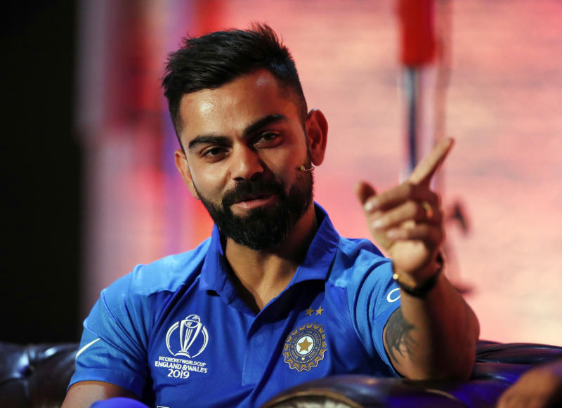 India's Virat Kohli gestures, during the Captain's Press Conference, in London, Thursday, May 23, 2019. The Cricket World Cup starts on Thursday May 30. (Andrew Boyers/Pool Photo via AP)