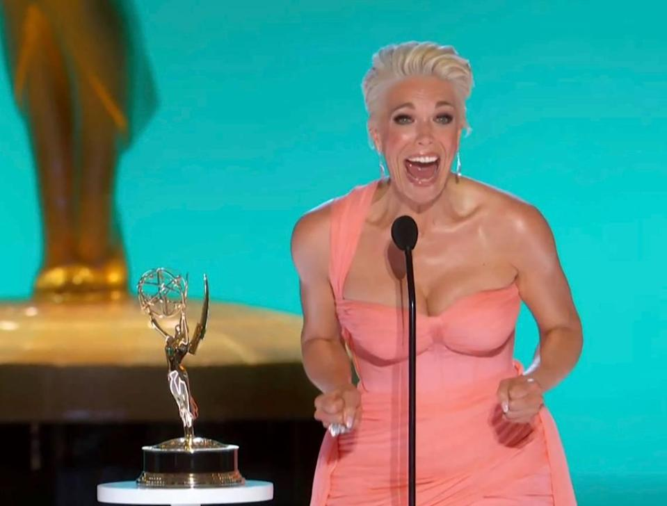 """In the first award of the evening, Hannah Waddingham won best supporting actress in a comedy. """"Jason, you've changed my life with this,"""" she told """"Ted Lasso"""" creator and star Jason Sudeikis."""