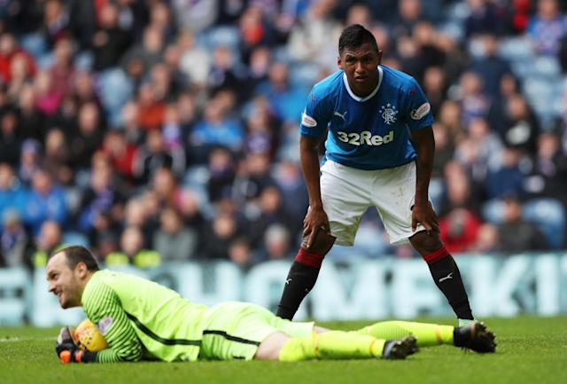 Soccer Football - Scottish Premiership - Rangers vs Kilmarnock - Ibrox, Glasgow, Britain - May 5, 2018 Rangers' Alfredo Morelos reacts after a save from Kilmarnock's Jamie McDonald REUTERS/Scott Heppell
