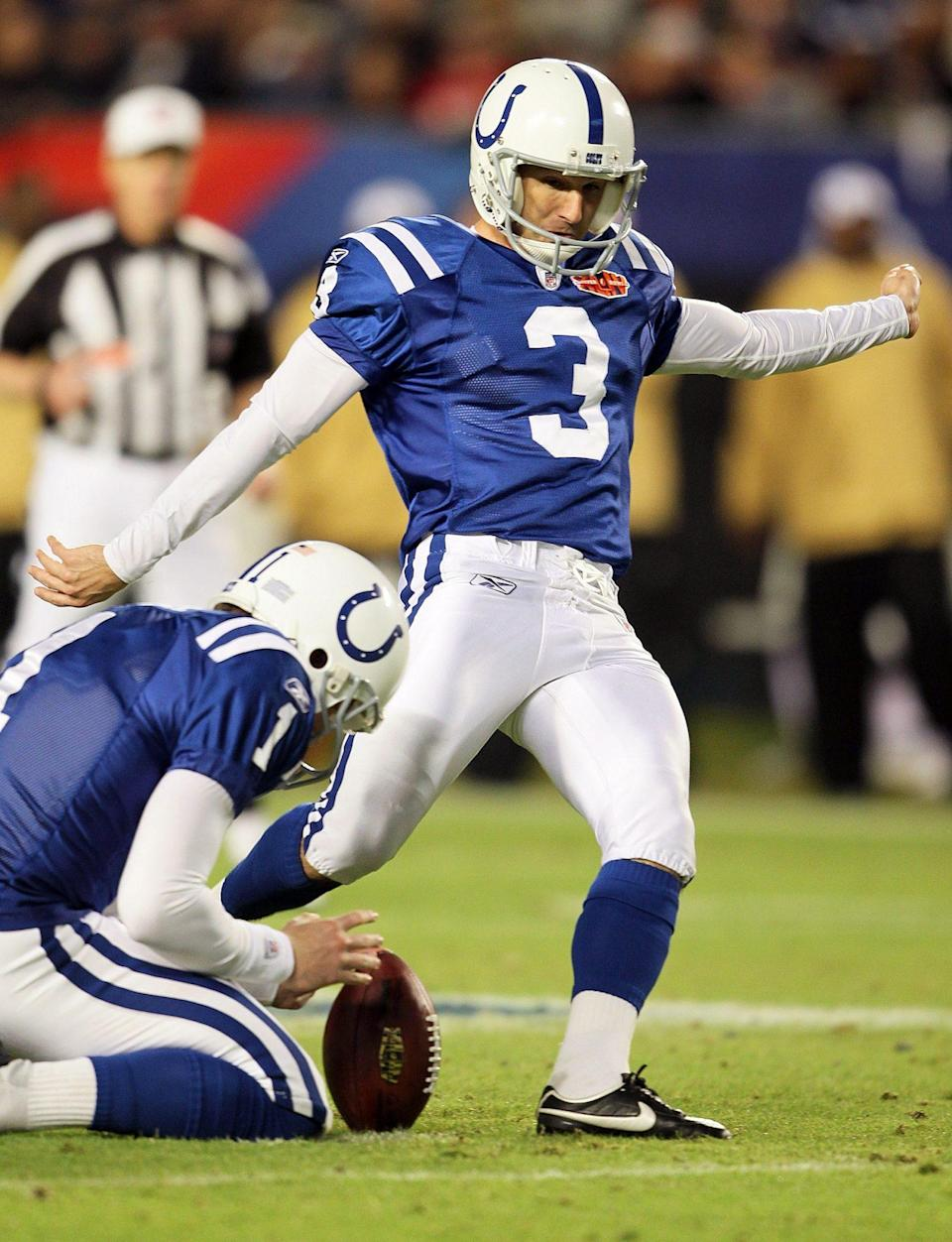 <p><strong>Age at the time of Super Bowl XLIV:</strong> 42 years old </p> <p>Stover, who was the starting kicker for the Indianapolis Colts, was 42 years old when he appeared in the 2010 Super Bowl. </p>
