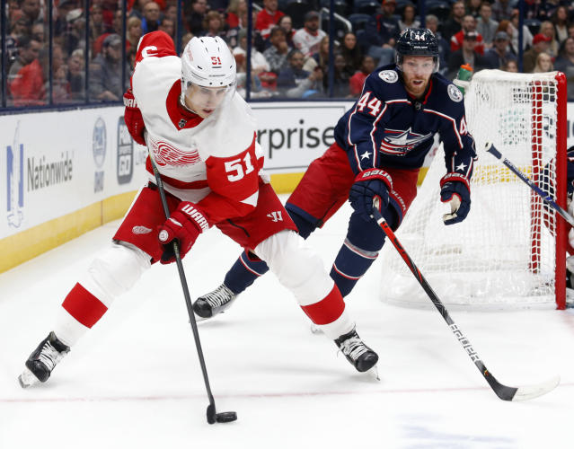 Detroit Red Wings forward Valtteri Filppula, left, of Finland, controls the puck in front of Columbus Blue Jackets defenseman Vladislav Gavrikov, of Russia, during the first period of an NHL hockey game in Columbus, Ohio, Thursday, Nov. 21, 2019. (AP Photo/Paul Vernon)