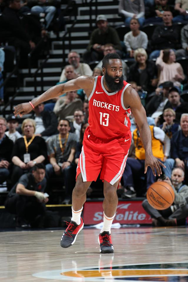 SALT LAKE CITY, UT - FEBRUARY 26: James Harden #13 of the Houston Rockets handles the ball against the Utah Jazz on February 26, 2018 at vivint.SmartHome Arena in Salt Lake City, Utah. (Photo by Melissa Majchrzak/NBAE via Getty Images)