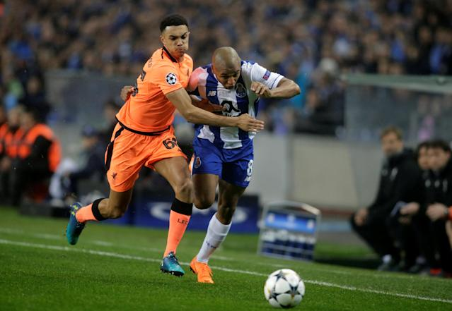 Soccer Football - Champions League Round of 16 First Leg - FC Porto vs Liverpool - Estadio do Dragao, Porto, Portugal - February 14, 2018 Porto's Yacine Brahimi in action with Liverpool's Trent Alexander-Arnold REUTERS/Miguel Vidal