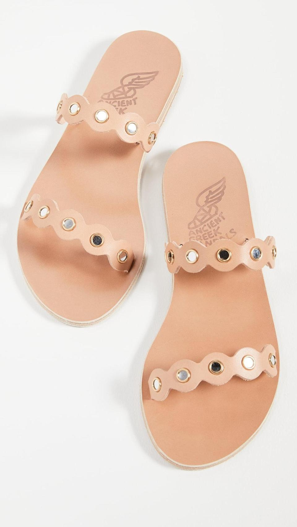 <p>Take a neutral flat sandal to the next level with these <span>Ancient Greek Sandals Melia Mirrors Slides</span> ($285).</p>