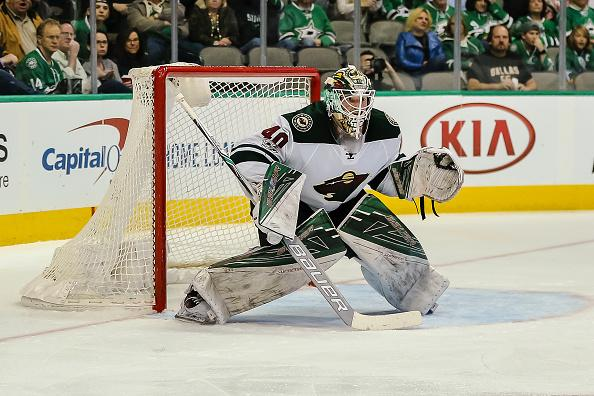 DALLAS, TX - JANUARY 24: Minnesota Wild goalie Devan Dubnyk (40) watches the action during the game between the Dallas Stars and the Minnesota Wild on January 24, 2017 at the American Airlines Center in Dallas, Texas. Minnesota defeats Dallas 3-2 in a shootout. (Photo by Matthew Pearce/Icon Sportswire via Getty Images)