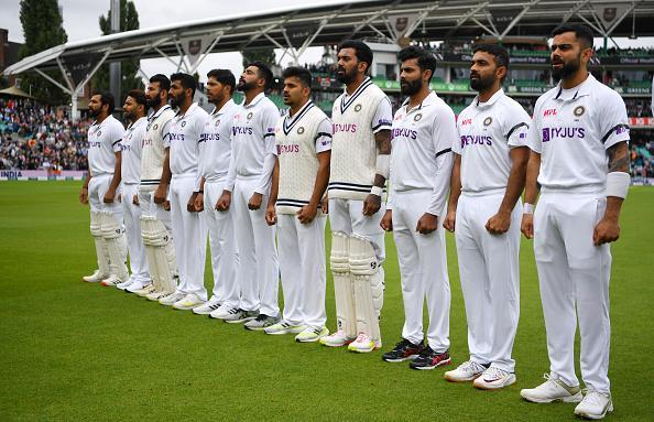 LONDON, ENGLAND - SEPTEMBER 02: India stand for the national anthems ahead of day one of the Fourth LV= Insurance Test Match between England and India at The Kia Oval on September 02, 2021 in London, England. (Photo by Gareth Copley/Getty Images)