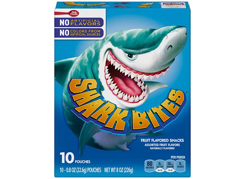 box of shark bites fruit snacks