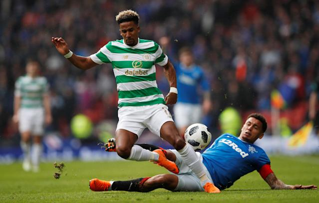 Soccer Football - Scottish Cup Semi Final - Celtic vs Rangers - Hampden Park, Glasgow, Britain - April 15, 2018 Celtic's Scott Sinclair in action with Rangers' James Tavernier Action Images via Reuters/Lee Smith