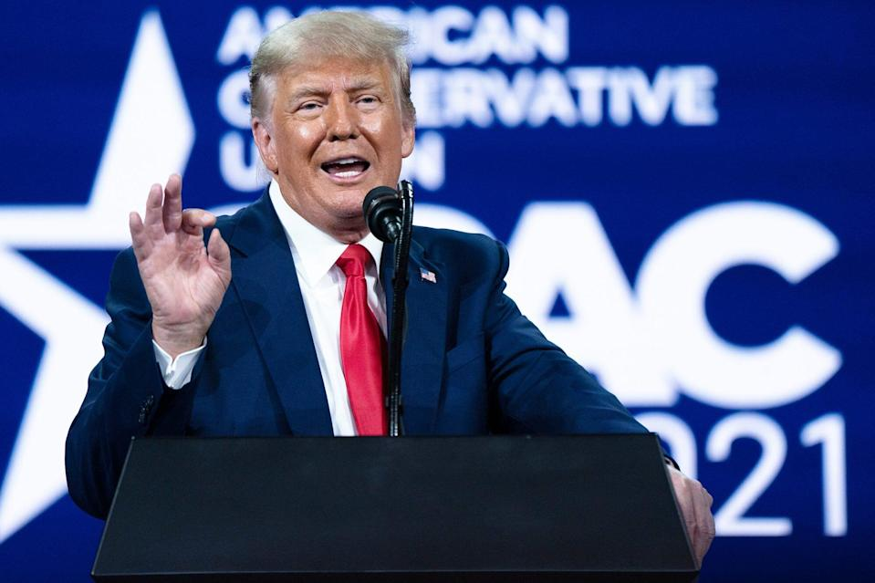 Former President Donald J Trump speaks during the final day of the Conservative Political Action Conference CPAC held at the Hyatt Regency Orlando on Sunday, Feb 28, 2021 in Orlando, FL