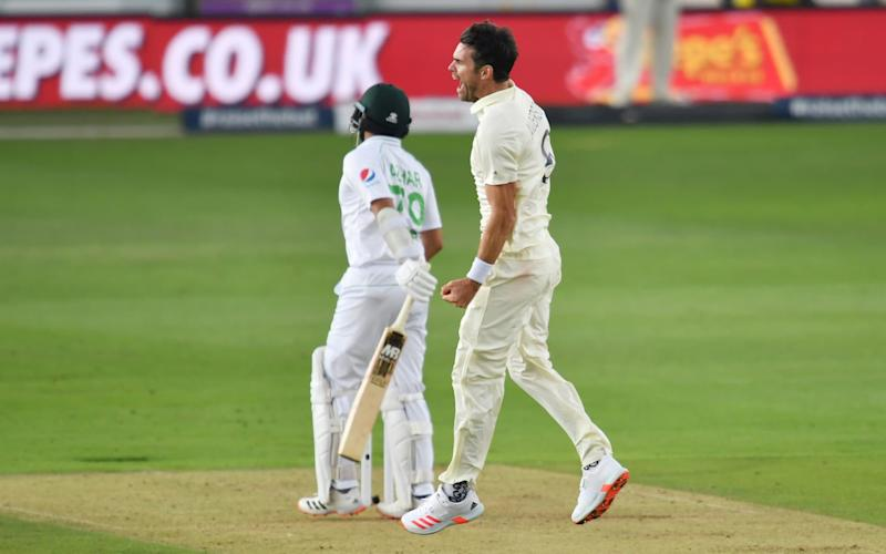 Ageas Bowl, Southampton, Britain - August 13, 2020 England's James Anderson celebrates taking the wicket of Pakistan's Azhar Ali caught by Rory Burns, as play resumes behind closed doors following the outbreak of the coronavirus disease - REUTERS