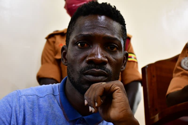 Ugandan presidential candidate Robert Kyagulanyi also known as Bobi Wine is seen inside the courtroom in Iganga