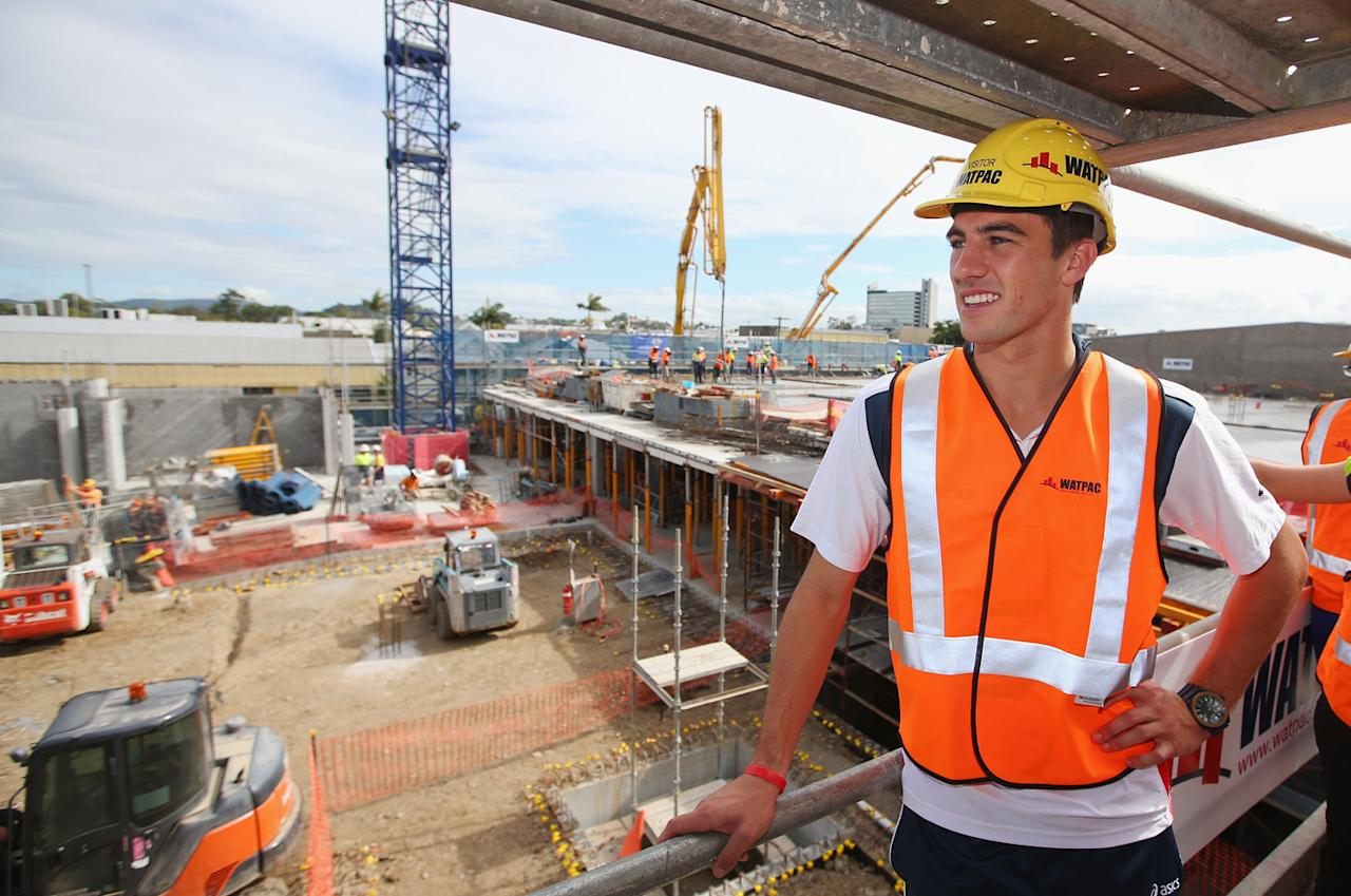 BRISBANE, AUSTRALIA - MAY 10:  Australian cricketer Pat Cummins tours the Cricket Centre of Excellence construction site on May 10, 2013 in Brisbane, Australia.  (Photo by Chris Hyde/Getty Images)