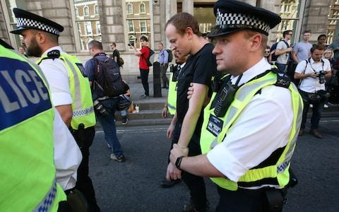Arrests have been made this morning and this afternoon at the protests - Credit: Jonathan Brady/PA Wire