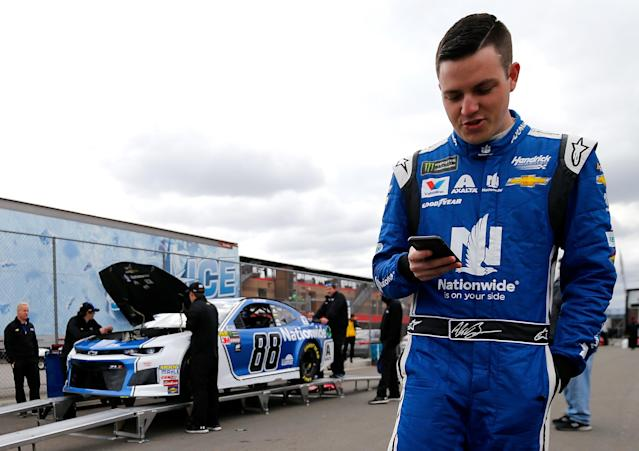"""FONTANA, CA – MARCH 16: <a class=""""link rapid-noclick-resp"""" href=""""/nascar/nationwide/drivers/3188"""" data-ylk=""""slk:Alex Bowman"""">Alex Bowman</a>, driver of the #88 Nationwide Chevrolet, waits for his car to pass inspection during qualifying for the Monster Energy NASCAR Cup Series Auto Club 400 at Auto Club Speedway on March 16, 2018 in Fontana, California. (Photo by Jonathan Ferrey/Getty Images)"""
