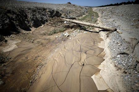A dry ditch is seen on Gless Ranch in Kern County