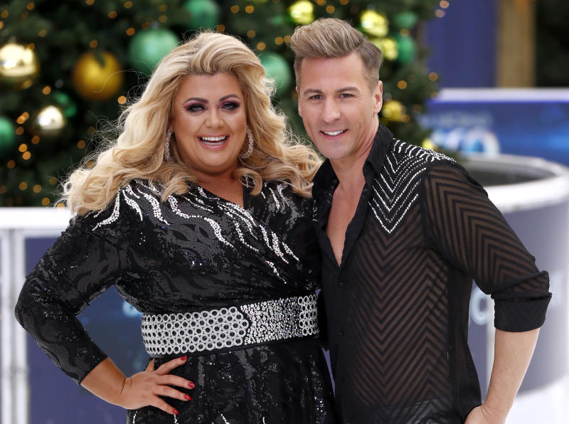 LONDON, ENGLAND - DECEMBER 18: Gemma Collins and Matt Evers during a photocall for the new series of Dancing On Ice at the Natural History Museum Ice Rink on December 18, 2018 in London, England. (Photo by John Phillips/Getty Images)
