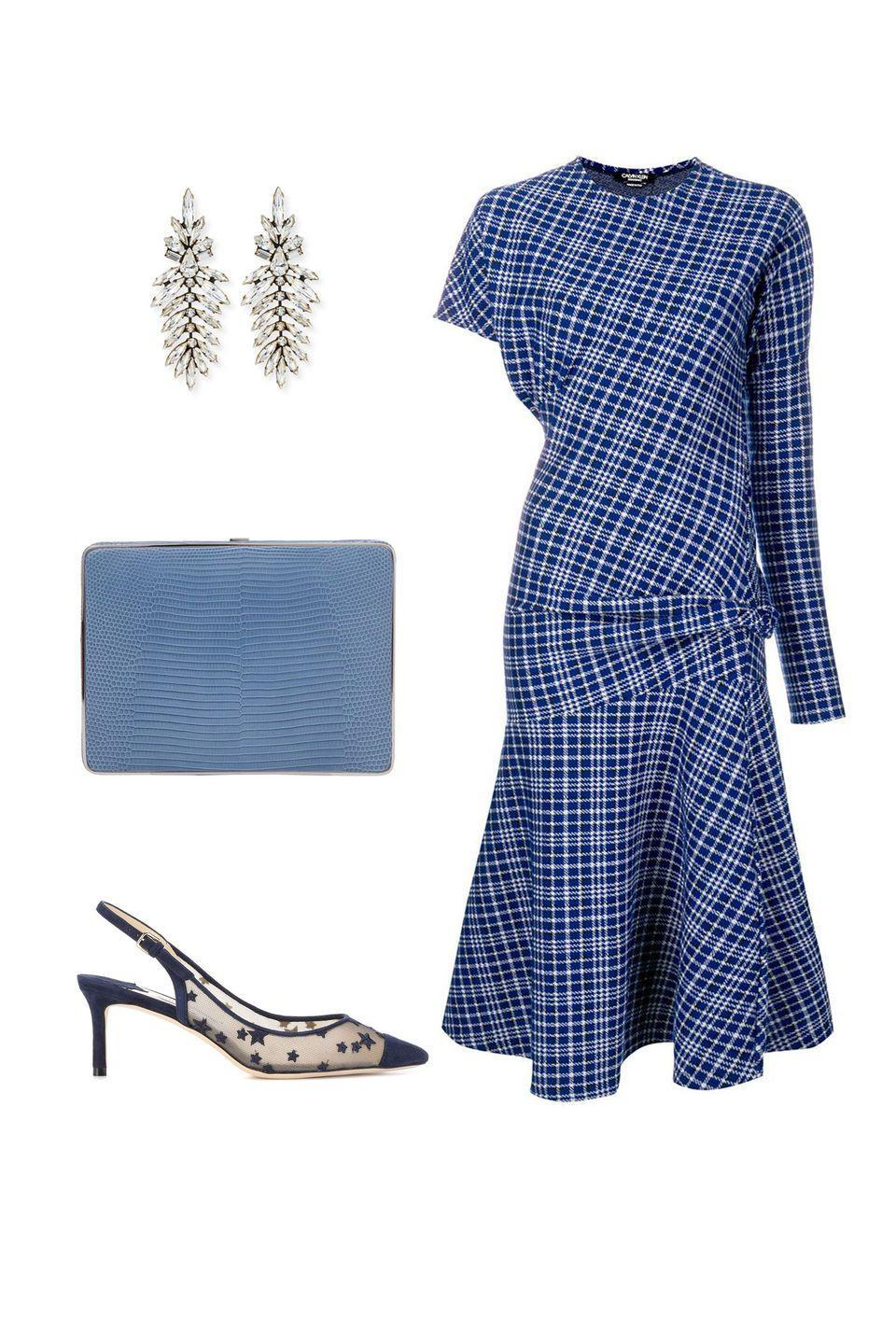 """<p>As the weather gets cooler, embrace bucolic prints and countryside vibes–with a modern twist. Pairing anything tartan with neutral, or cool color, accessories and a bold red lip feels apropos for the season and effortlessly chic.</p><p><em><strong>Calvin Klein</strong> asymmetric dress, $950, <a rel=""""nofollow noopener"""" href=""""https://shop.harpersbazaar.com/designers/calvin-klein-205w39nyc/blue-asymmetric-dress-27234.html"""" target=""""_blank"""" data-ylk=""""slk:shopBAZAAR.com"""" class=""""link rapid-noclick-resp"""">shopBAZAAR.com</a>,; <strong>Hunting Season</strong> clutch, $1,395, <a rel=""""nofollow noopener"""" href=""""https://shop.harpersbazaar.com/designers/hunting-season/blue-square-compact-lizard-clutch-bag-26826.html"""" target=""""_blank"""" data-ylk=""""slk:shopBAZAAR.com"""" class=""""link rapid-noclick-resp"""">shopBAZAAR.com</a>; <strong>Jimmy Choo</strong> slingbacks, $680, <a rel=""""nofollow noopener"""" href=""""https://www.mytheresa.com/en-de/jimmy-choo-erin-60-suede-slingback-pumps-995610.html?catref=category"""" target=""""_blank"""" data-ylk=""""slk:mytheresa.com"""" class=""""link rapid-noclick-resp"""">mytheresa.com</a>; <strong>Auden</strong> earrings, $448, <a rel=""""nofollow noopener"""" href=""""https://www.bergdorfgoodman.com/Auden-Emerson-Marquis-Crystal-Drop-Earrings-Earrings/prod133280011_cat203401__/p.prod?icid=&searchType=EndecaDrivenCat&rte=%252Fcategory.jsp%253FitemId%253Dcat203401%2526pageSize%253D120%2526No%253D0%2526refinements%253D&eItemId=prod133280011&cmCat=product"""" target=""""_blank"""" data-ylk=""""slk:bergdorfgoodman.com"""" class=""""link rapid-noclick-resp"""">bergdorfgoodman.com</a>.</em></p>"""