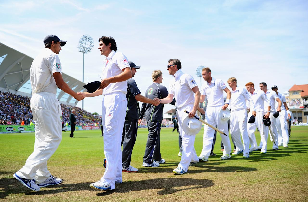 NOTTINGHAM, ENGLAND - JULY 14: Captain Alastair Cook of England shakes hands with Ashton Agar of Australia after day five of the 1st Investec Ashes Test match between England and Australia at Trent Bridge Cricket Ground on July 14, 2013 in Nottingham, England. (Photo by Laurence Griffiths/Getty Images)