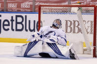 Tampa Bay Lightning goaltender Andrei Vasilevskiy (88) reacts after allowing a fourth goal by the Florida Panthers during the second period of an NHL hockey game on Saturday, May 8, 2021, in Sunrise, Fla. (AP Photo/Mary Holt)
