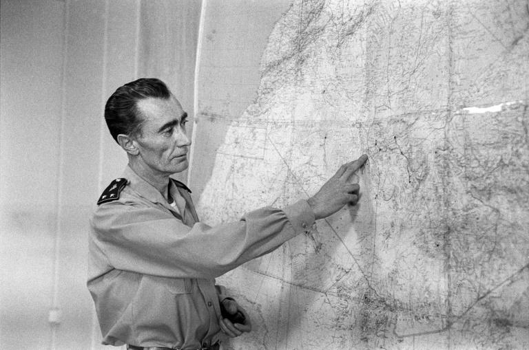 """French General Jean Thiry speaks to journalists in 1960 about the third French nuclear test in the Algerian Sahara, the operation called """"Gerboise rouge"""""""