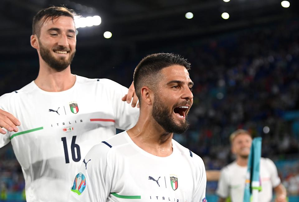 ROME, ITALY - JUNE 11: Lorenzo Insigne of Italy celebrates after scoring their side's third goal during the UEFA Euro 2020 Championship Group A match between Turkey and Italy at the Stadio Olimpico on June 11, 2021 in Rome, Italy. (Photo by Mike Hewitt/Getty Images)