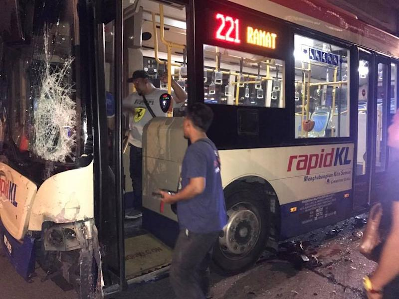 A RapidKL bus was seen speeding and swerving in traffic dangerously before colliding with several cars that were unable to avoid the oncoming bus. ― Pictures via social media