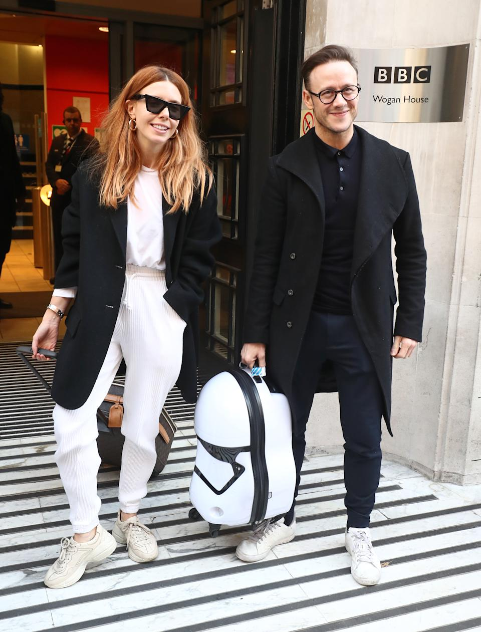 Strictly Come Dancing finalists Stacey Dooley and Kevin Clifton leave BBC Broadcasting House in London after appearing on the Chris Evans radio show.