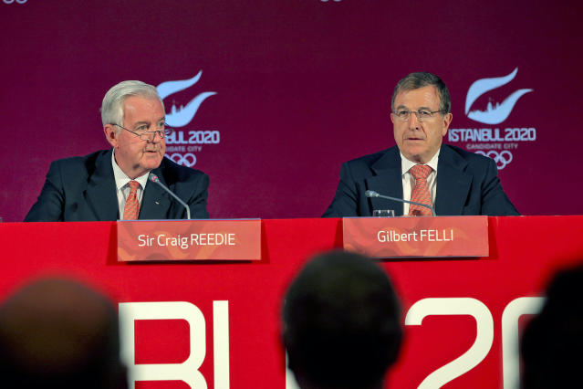 """The International Olympic Committee, IOC, vice president Craig Reedie, left, and IOC member Gilbert Felli seen during a news conference in Istanbul, Turkey, Wednesday, March 27, 2013. The IOC said it has an """"excellent impression"""" of the Istanbul committee's bid to host the 2020 Olympics. Reedie and Felli were speaking Wednesday as the IOC's evaluation commission wrapped-up a four-day tour to assess Istanbul's ability to host the 2020 Olympic Games. Istanbul is competing against Madrid and Tokyo. (AP Photo)"""