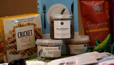 Food products made with insects in the ingredients are displayed during the 'Eating Insects Detroit: Exploring the Culture of Insects as Food and Feed' conference at Wayne State University in Detroit, Michigan May 26, 2016.  REUTERS/Rebecca Cook
