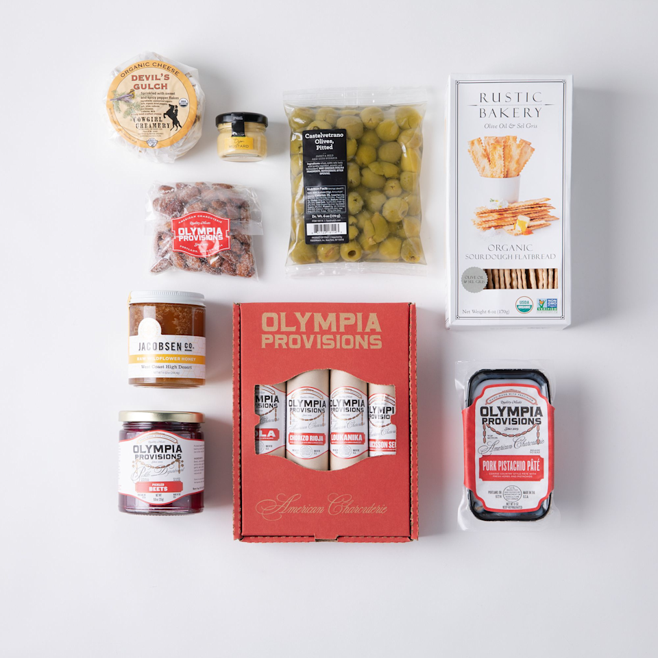 "<h3><h2>Olympia Provisions European Entertainer Gift Box<br></h2></h3><br>Although mom may not be able to travel to Europe anytime soon, you can send her a little taste of that lifestyle with this box of charcuterie goodies that includes olives, artisanal cheeses, salami, and much more. <br><br><strong>Olympia Provisions</strong> European Entertainer Gift Box, $, available at <a href=""https://go.skimresources.com/?id=30283X879131&url=https%3A%2F%2Ffood52.com%2Fshop%2Fproducts%2F5823-olympia-provisions-european-entertainer-gift-box"" rel=""nofollow noopener"" target=""_blank"" data-ylk=""slk:Food52"" class=""link rapid-noclick-resp"">Food52</a>"
