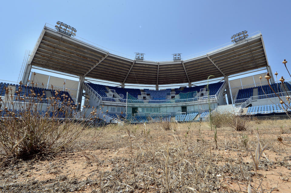 ATHENS, GREECE - JULY 31: General view of the Olympic Softball stadium at the Helliniko Olympic complex in Athens, Greece on July 31, 2014. Ten years ago the XXVIII Olympiad was held in Athens from the 13th - 29th August with the motto